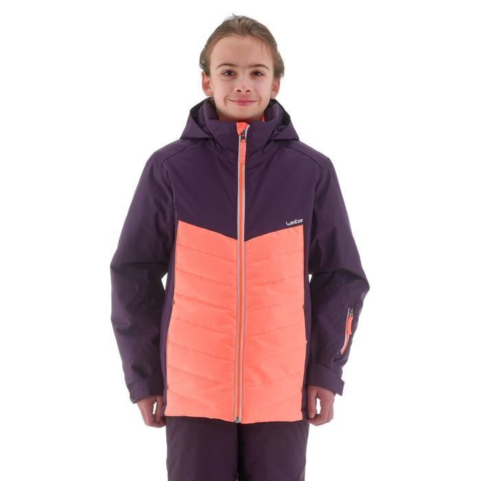 Ski jas voor kinderen 300 zwart/koraalrood