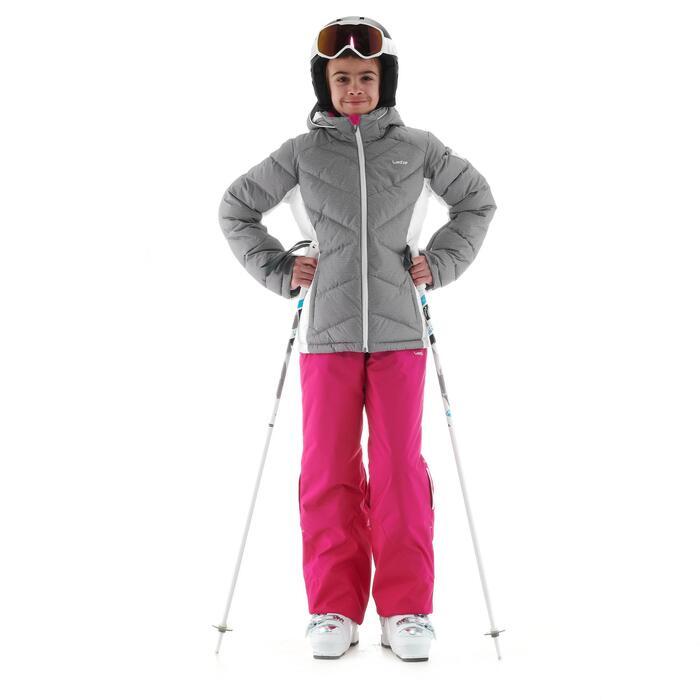 Skijacke Warm 500 Kinder grau/weiß