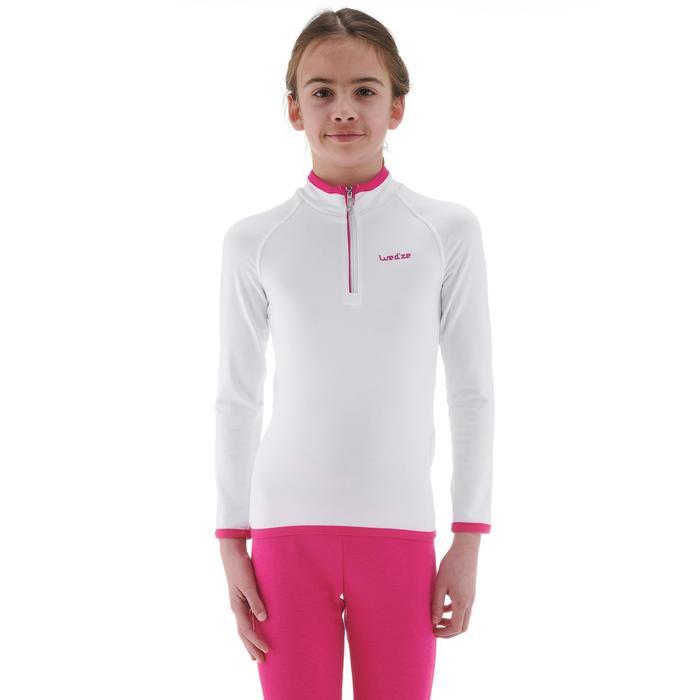 Camiseta térmica esquí y nieve interior Wed'ze Freshwarm cremallera Niños Blanco