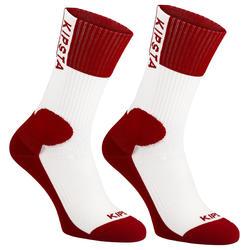 Halfhoge volleybalsokken V500 wit en rood Allsix