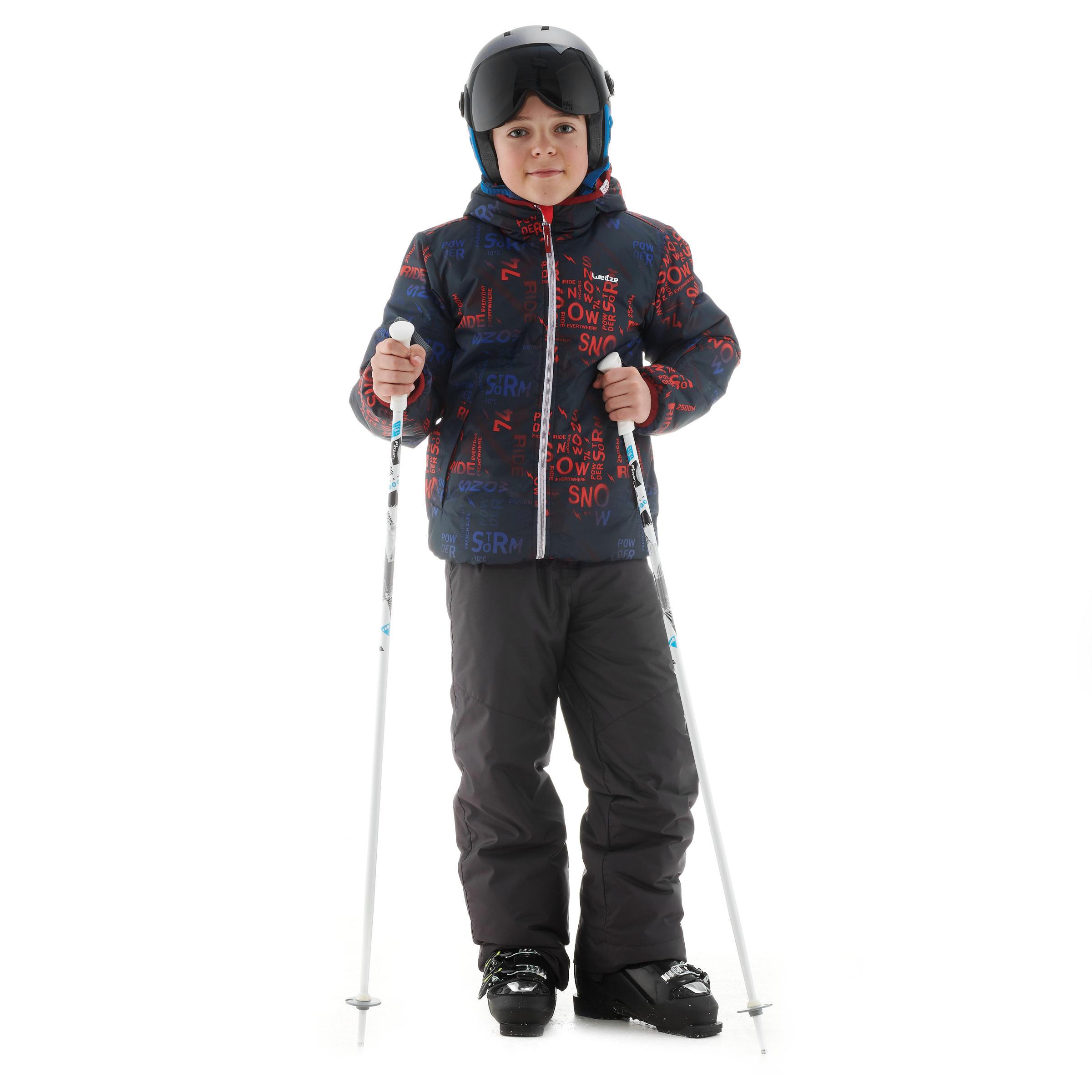 กางเกงขายาวเด็กสำหรับใส่เล่นสกีรุ่น SKI-P PA 100 (สีเทาเข้ม)