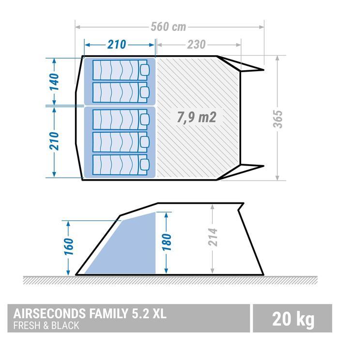 Familienzelt Air Seconds 5.2 XL Fresh&Black für 5 Personen in 2 Kabinen