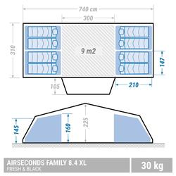 Kampeertent opblaasbaar AIR SECONDS 8.4 FRESH&BLACK | 8 personen 4 slaapcabines