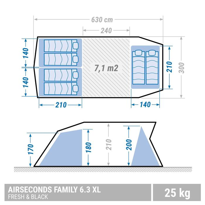 Tente de camping familiale Air seconds family 6.3 XL Fresh & Black I 6 personnes - 1347523