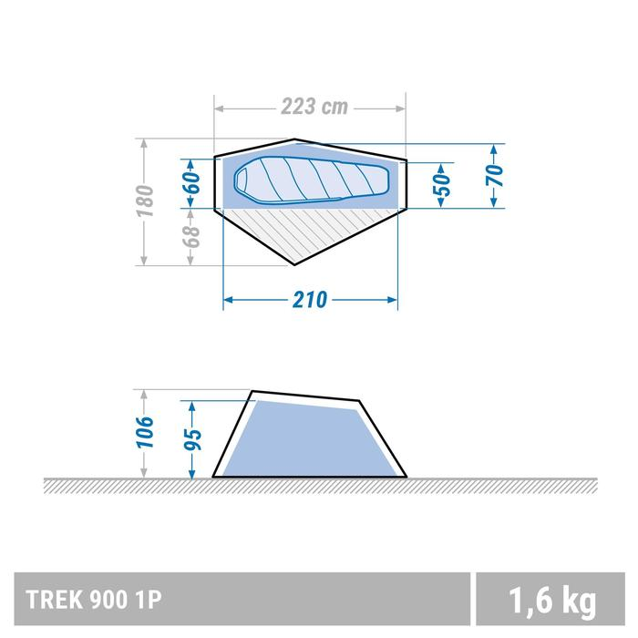 Tente de trek 900 ultralight 1 personne gris - 1347641