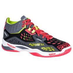 Zapatillas de balonmano mid adulto H500 negro / amarillo / rosa