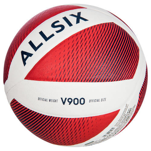 ballon de volley-ball v900 blanc et rouge