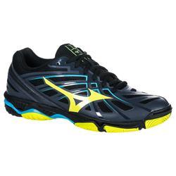 Chaussures de volley-ball homme wave hurricane 3 noires et jaunes.