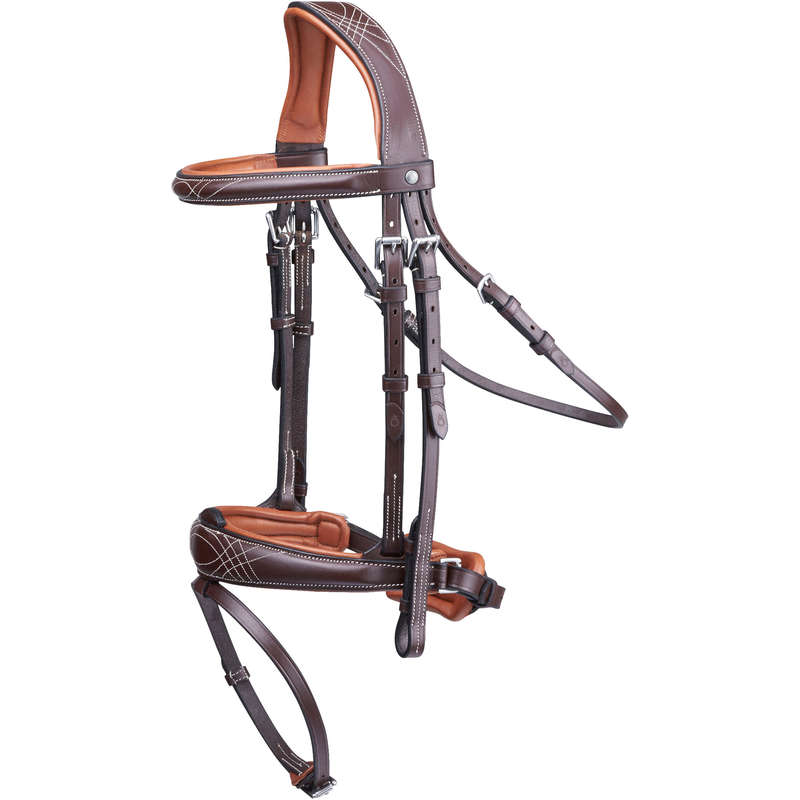 BRIDLEWORK Horse Riding - Pull Back Bridle - Brown FOUGANZA - Saddlery and Tack