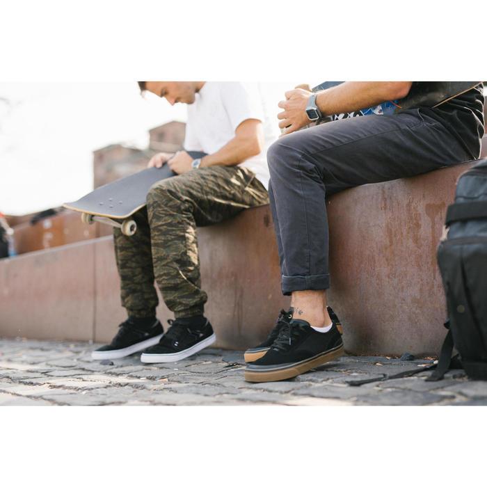 Chaussures basses de skateboard adulte VULCA 500 noire, semelle gomme