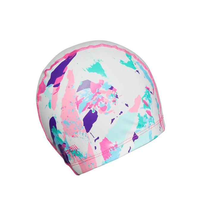 矽膠網眼印花泳帽500,L號 - CUT白色
