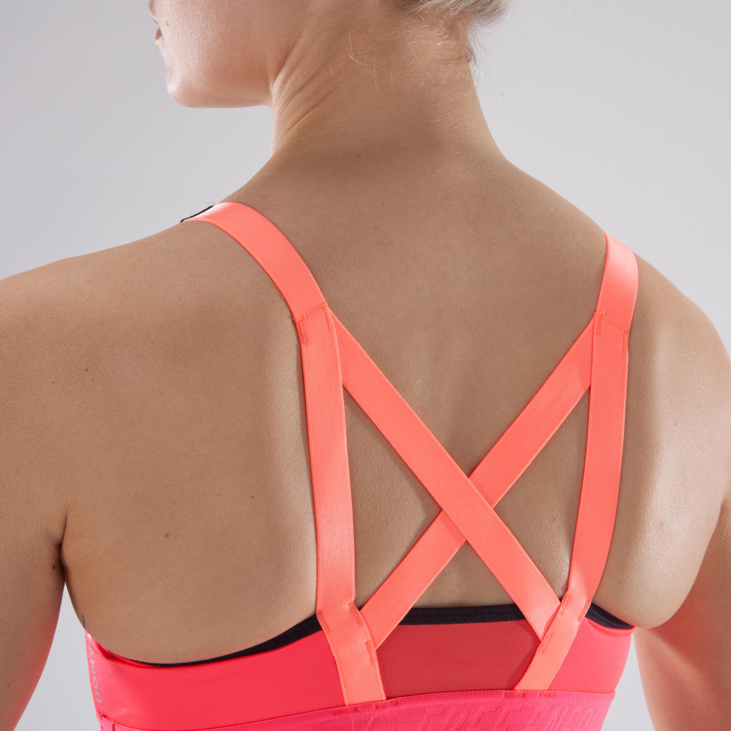 500 Women's Cardio Fitness Sports Bra - Coral