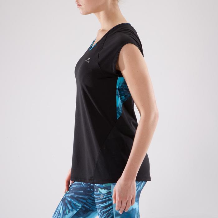 T-shirt fitness cardio femme bleu marine à imprimés roses 500 Domyos - 1349203