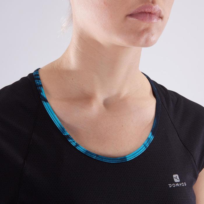 T-shirt fitness cardio femme bleu marine à imprimés roses 500 Domyos - 1349221