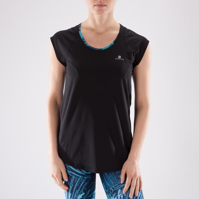T-shirt fitness cardio femme bleu marine à imprimés roses 500 Domyos - 1349231