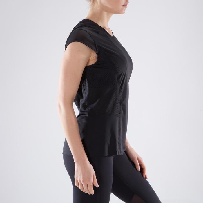 Dames T-shirt voor fitness en cardiotraining zwart 900