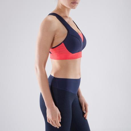 Brassière fitness cardio-training femme bleu marine et corail 900.  Previous. Next 8cddfe2c4514