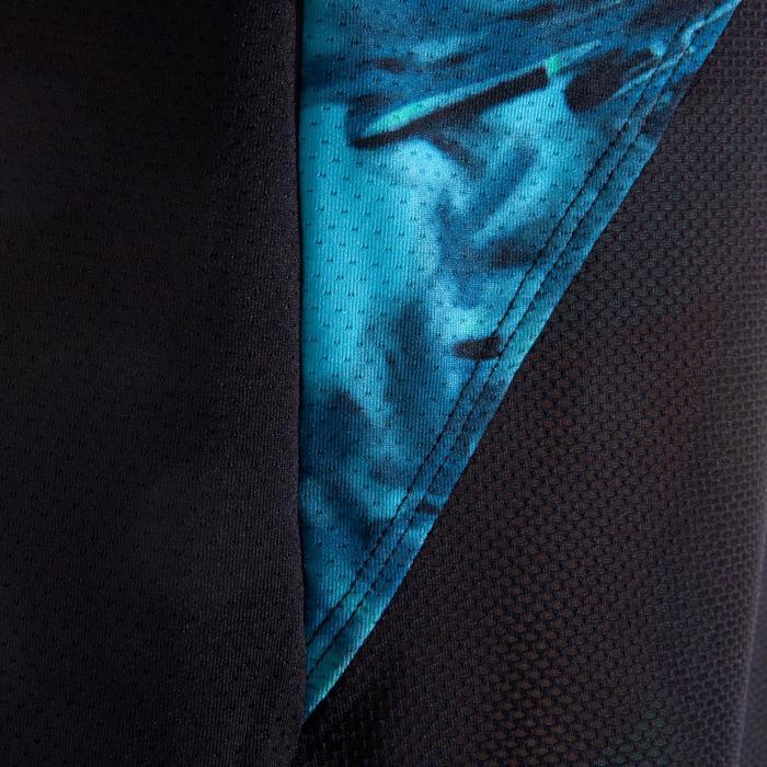T-shirt fitness cardio femme bleu marine à imprimés roses 500 Domyos - 1349268
