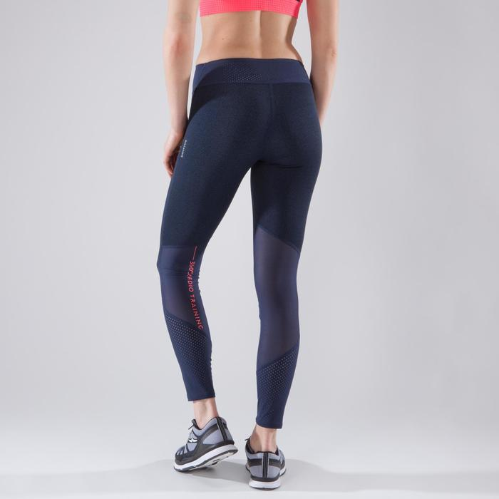 Leggings fitness cardio-training mujer con estampados azules 900