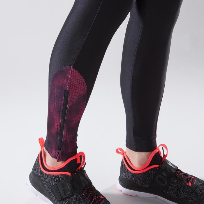 Legging fitness cardio-training femme noir détails roses 500