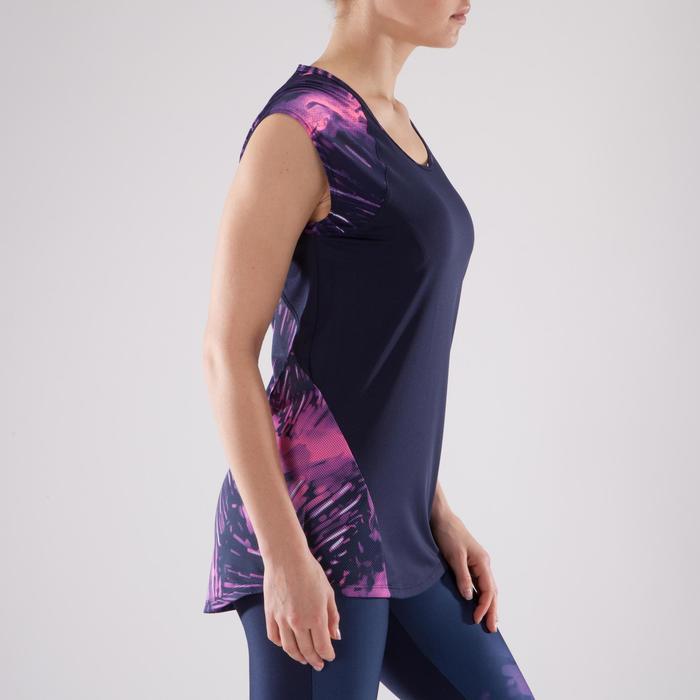 T-shirt fitness cardio femme bleu marine à imprimés roses 500 Domyos - 1349286