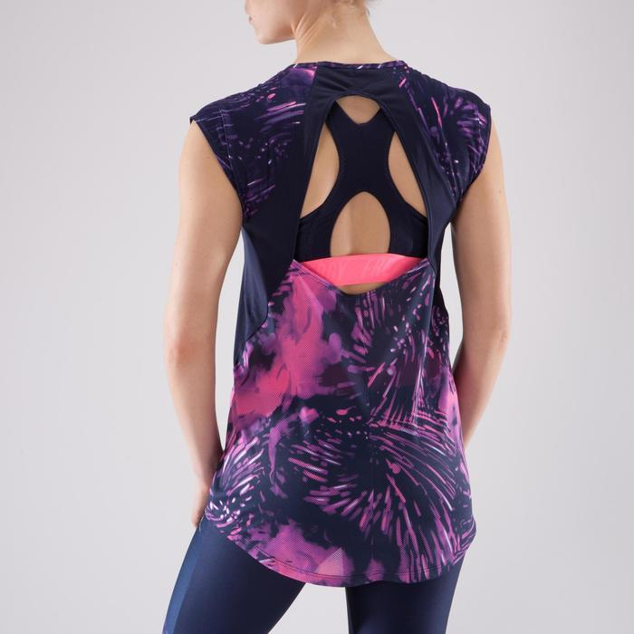T-shirt fitness cardio femme bleu marine à imprimés roses 500 Domyos - 1349287