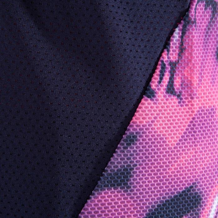 T-shirt fitness cardio femme bleu marine à imprimés roses 500 Domyos - 1349309