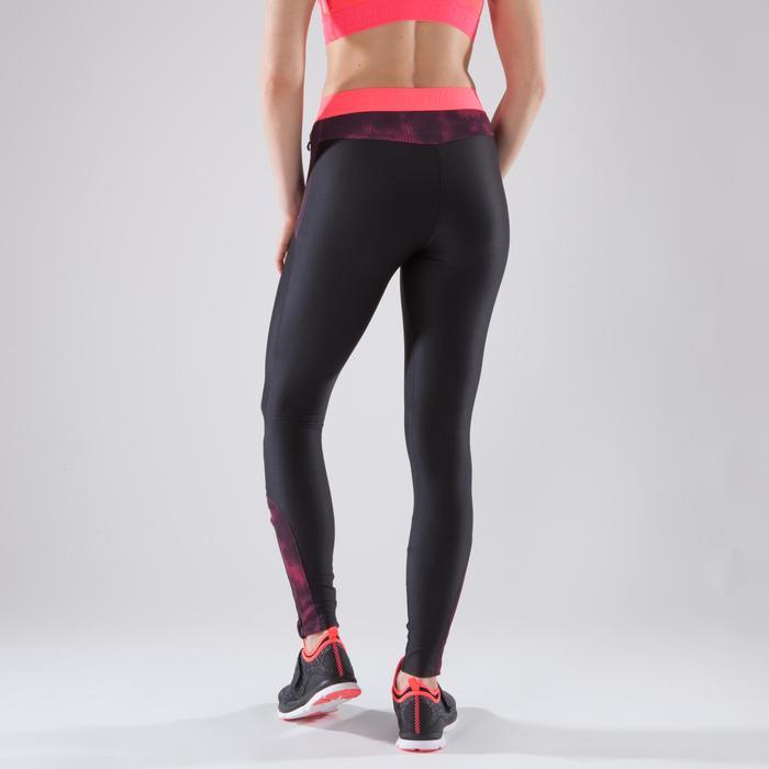 Legging fitness cardio femme bleu marine et imprimés tropicaux roses 500 Domyos - 1349327