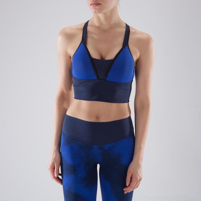 Brassière fitness cardio-training femme bleue 120