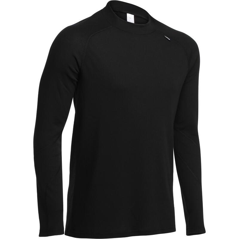 男款滑雪底層上衣100 - 黑色