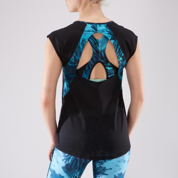 T-shirt fitness cardio femme bleu marine à imprimés roses 500 Domyos - 1349338
