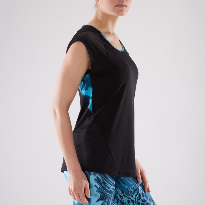 T-shirt fitness cardio femme bleu marine à imprimés roses 500 Domyos - 1349342