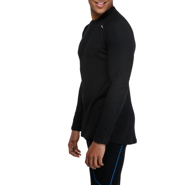 Men's Skiing Base Layer top Simple Warm - Black