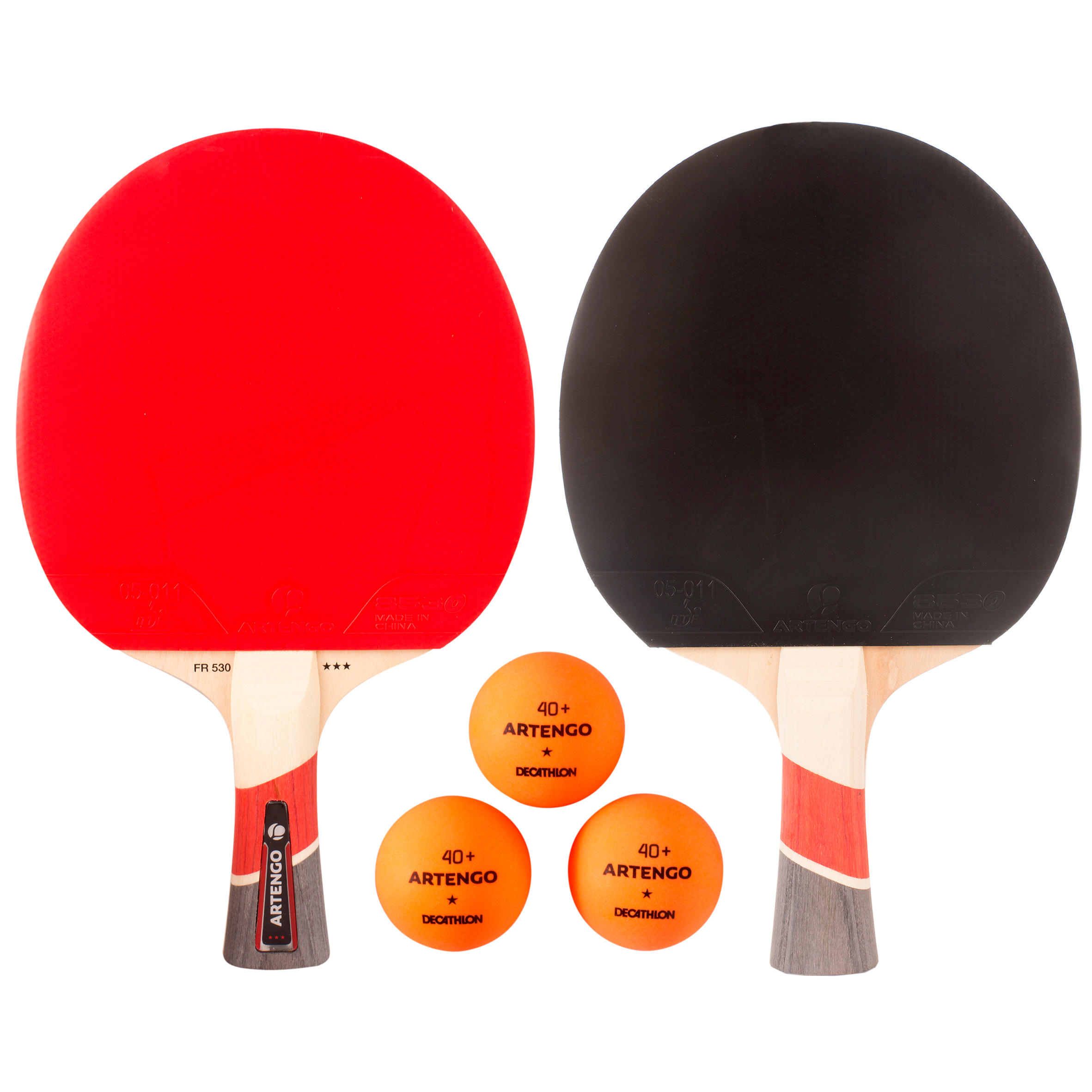 Ensemble de 2 raquettes de tennis de table FR 530 et 3 balles FB 830+