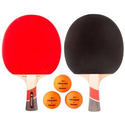 Tischtennis-Set mit 2 Tischtennisschlägern FR530 und 3 Bällen FB830+