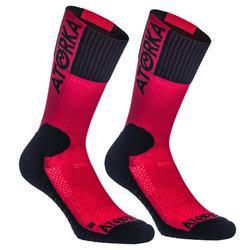 Calcetines de Balonmano Atorka H500 Media Caña Rojo Negro