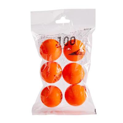 PPB 100 Silent 6-Pack Foam Table Tennis Balls - Orange