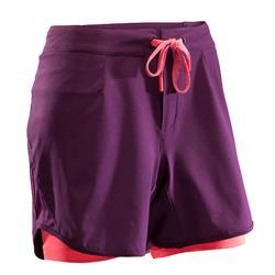 Kurze Radhose MTB-Shorts ST 500 Damen Pflaume/rosa