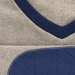 男款健行立領針織衫NH150-米色和藍色
