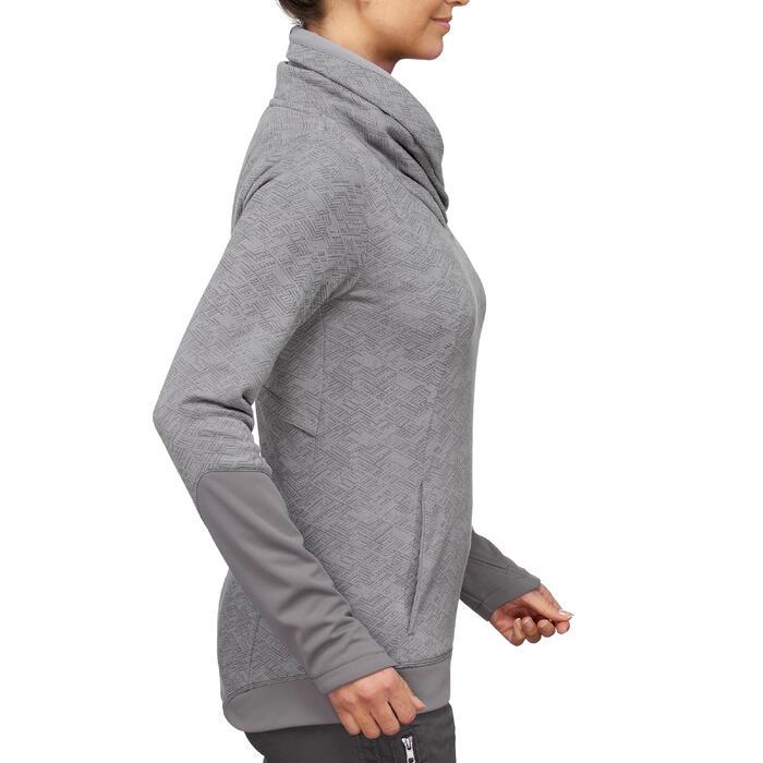 Pull randonnée nature femme NH500 gris imprimé