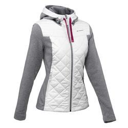 女款健行混合立領針織衫NH500-淺灰色