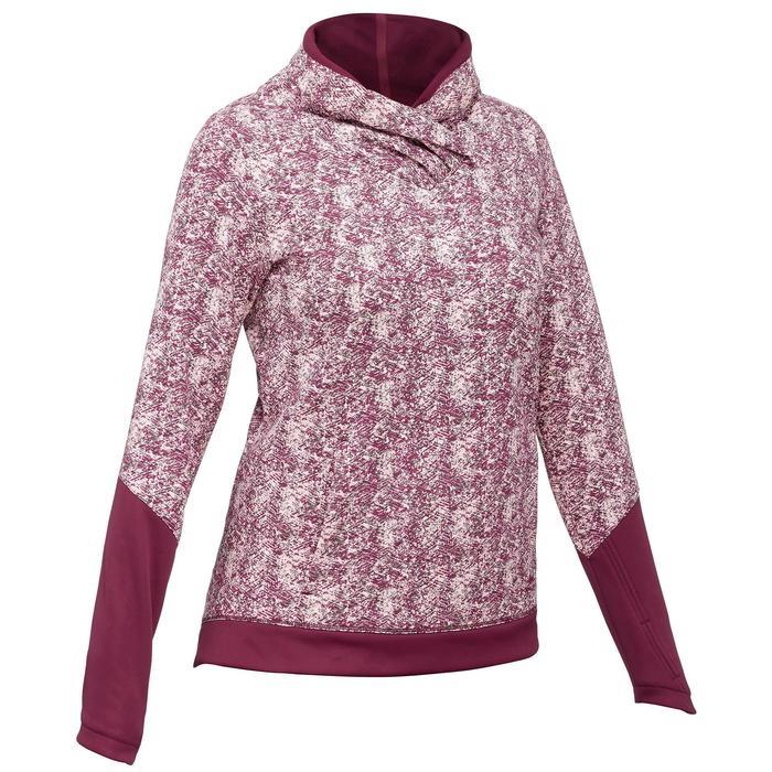 女款健行立領針織衫NH500-酒紅色印花