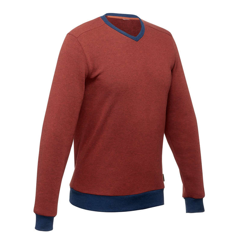 MEN NATURE HIKING JUMPERS/HOODIES Hiking - Men's Pullover NH150 -Red Blue QUECHUA - Hiking Clothes