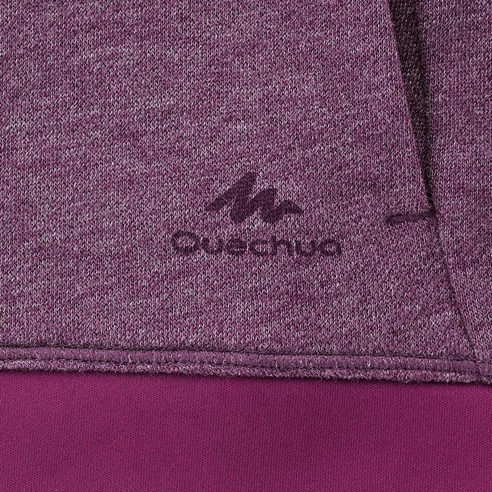 女款登山健行立領針織衫NH500-梅紅色