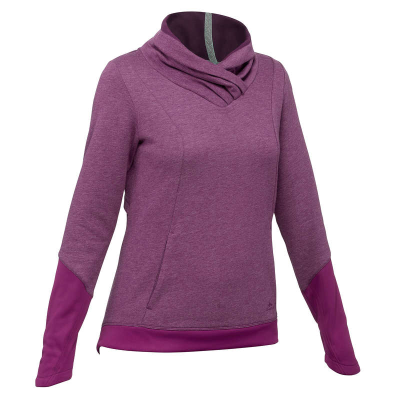 WOMEN NATURE HIKING JUMPERS/HOODIES Clothing - Women's Pullover NH500 - Plum QUECHUA - Tops