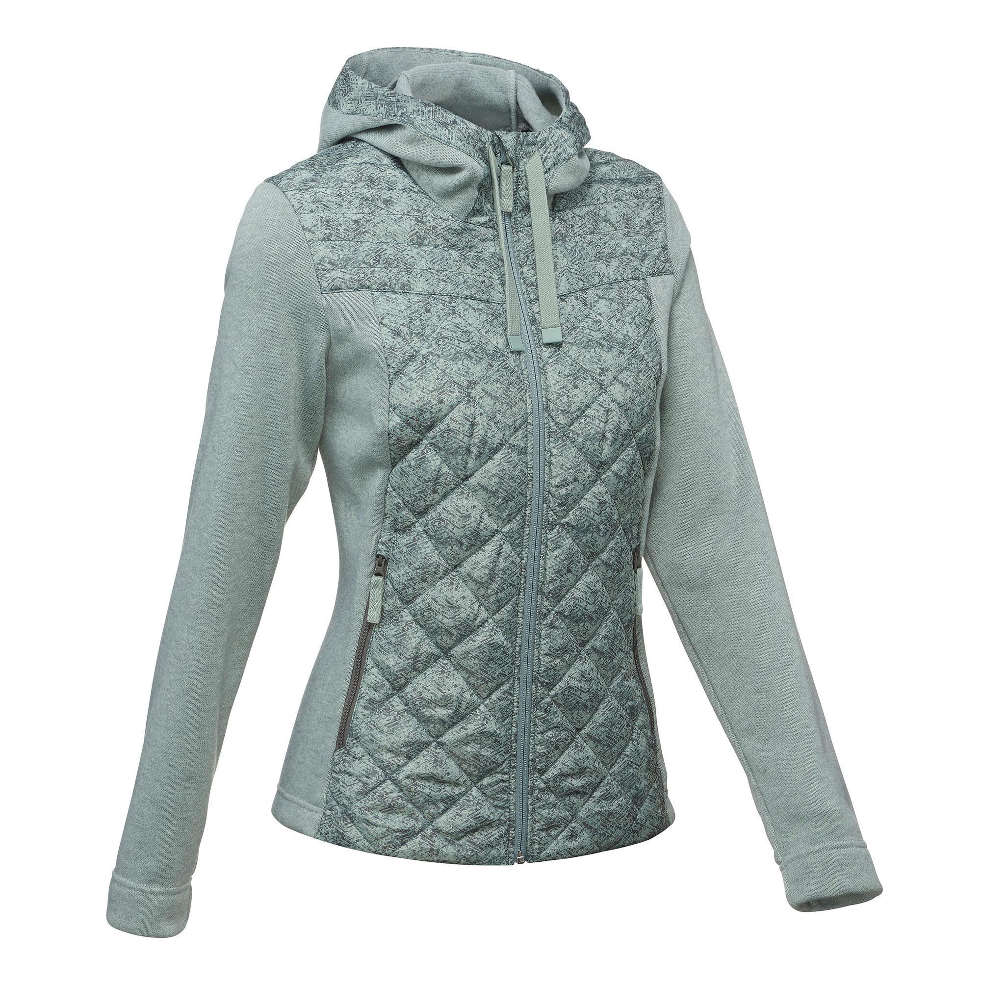 Fleecejacke Hybrid NH500 Damen kaki hell   Bekleidung > Jacken > Fleecejacken   Grün - Khaki   Polyester   Quechua