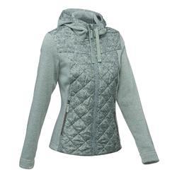 Arpenaz 女性混合式自然健行運動套頭毛衣 - 米黃
