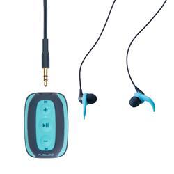 Reproductor MP3 estanco SwimMusic V1.1 Azul con auriculares y alas de sujeción