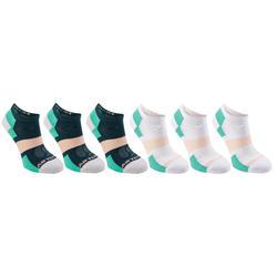 Lage tennissokken voor kinderen Artengo RS160 wit groen set van 6