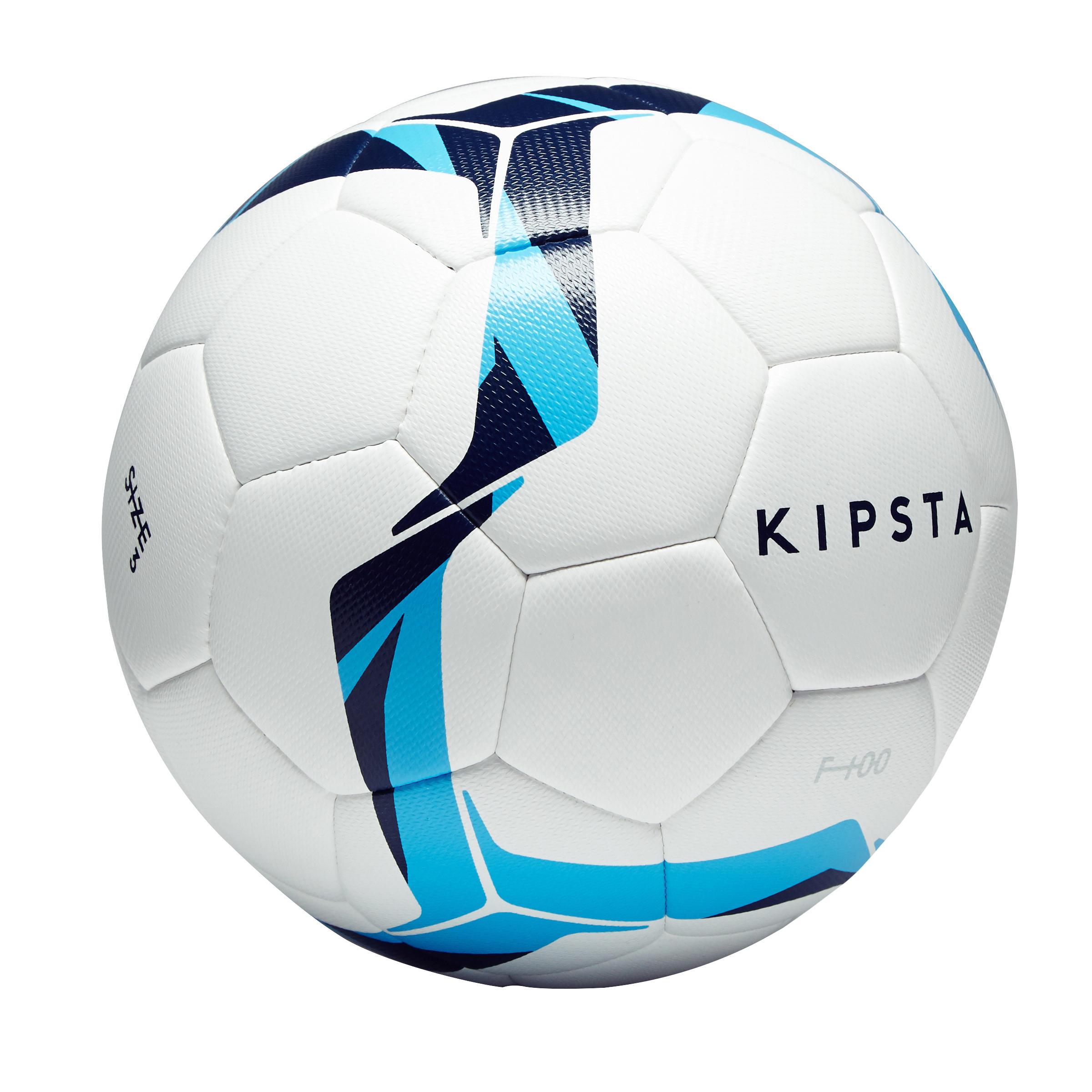 Balón de fútbol F100 híbrido talla 3 blanco y azul